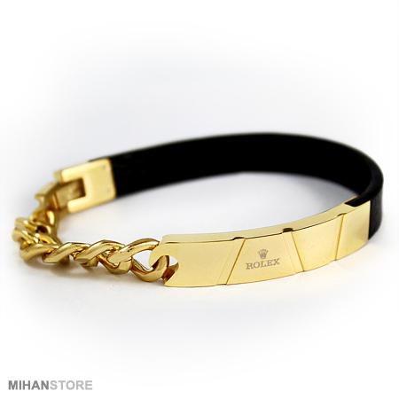 خرید اینترنتی دستبند چرم و استیل طرح Rolex